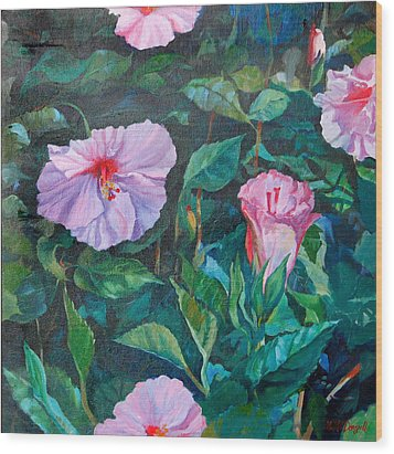 Hibiscus Wood Print by Michael McDougall