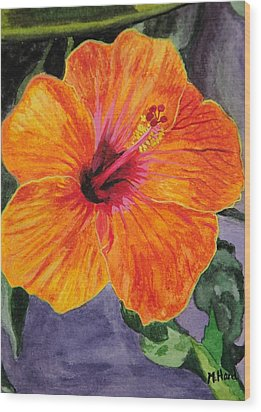 Hibiscus Wood Print by Michelle Hand