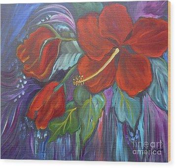 Hibiscus Whimsy Wood Print