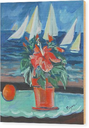 Hibiscus With An Orange And Sails For Breakfast Wood Print by Betty Pieper