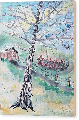 Wood Print featuring the painting Hickory by Denise Tomasura