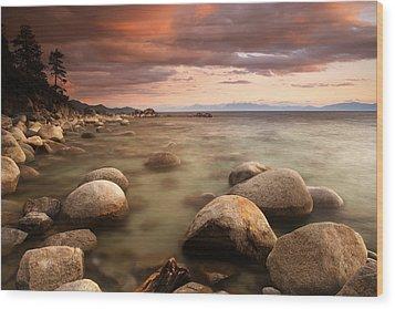 Hidden Beach At Sunset Wood Print by Eric Foltz
