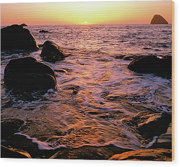 Hidden Cove Sunset Redwood National Park Wood Print by Ed  Riche