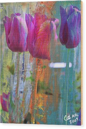 Hidden Tulips Wood Print by  Cid