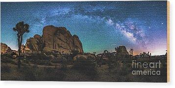 Hidden Valley Milky Way Panorama Wood Print by Robert Loe