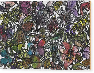 Hide And Seek In Wildflower Bushes Wood Print by Garima Srivastava