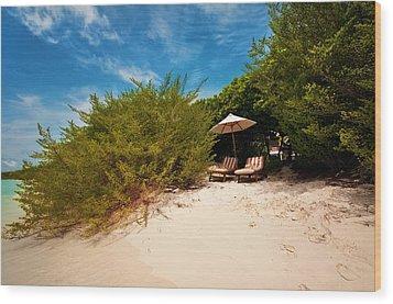 Hideaway. Maldivian Beach Wood Print by Jenny Rainbow