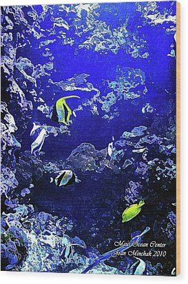 Hiding Fish Wood Print by Joan  Minchak
