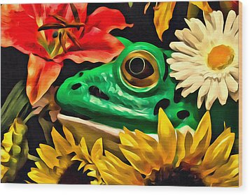 Hiding Frog Wood Print by Jeff  Gettis