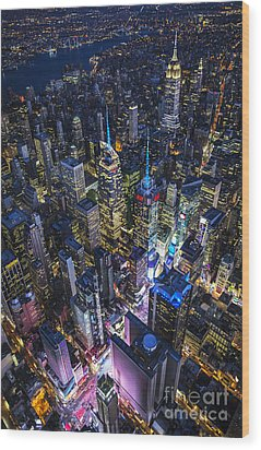 High Above The City Wood Print by Roman Kurywczak