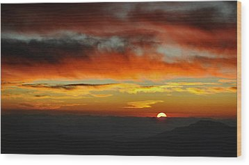 Wood Print featuring the photograph High Altitude Fiery Sunset by Joe Bonita