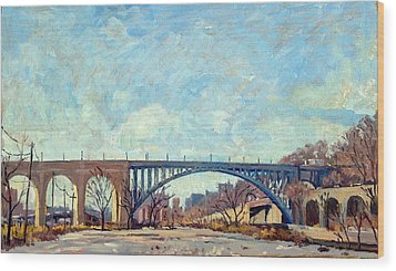 High Bridge Winter Light Nyc Wood Print by Thor Wickstrom