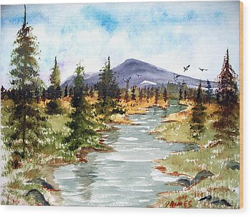 High Country Stream Wood Print by Carol Grimes