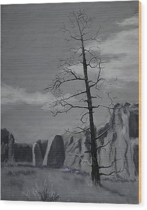 Wood Print featuring the painting High Desert Skeleton by Nancy Jolley