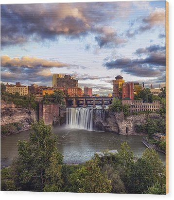 Wood Print featuring the photograph High Falls Crop by Mark Papke