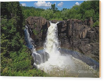 High Falls On Pigeon River Wood Print
