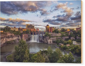 High Falls Rochester Wood Print