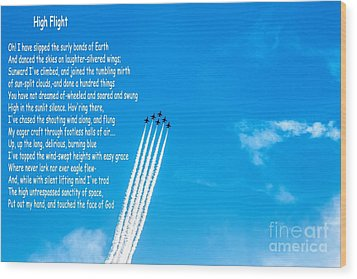 High Flight Wood Print by Jon Burch Photography