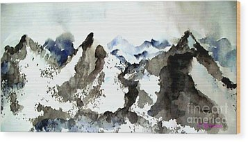 Wood Print featuring the painting High Mountain Peaks by Carol Grimes