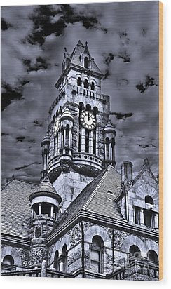 High Noon Black And White Wood Print by Tamyra Ayles
