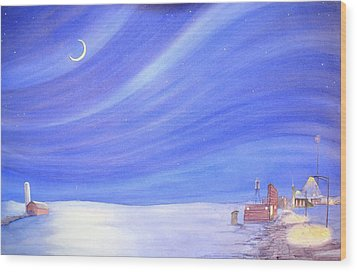 Wood Print featuring the painting High Plains Nightscape by Scott Kirby