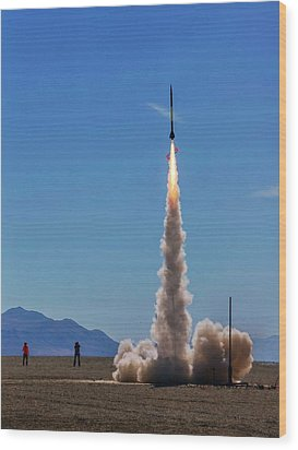 Wood Print featuring the photograph High Power Rocket Certification Flight by Peter Thoeny