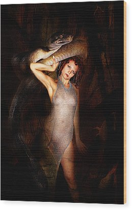 High Priest And Her Snake Wood Print by Sandy Viktor Nys