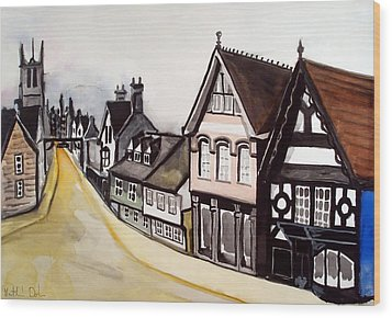 High Street Of Stamford In England Wood Print