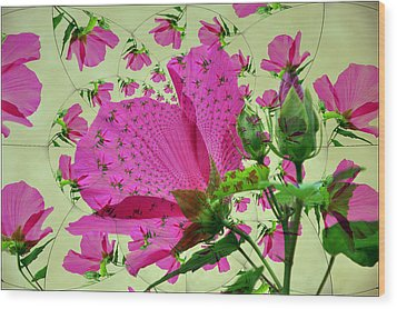High Tea With Pink Hibiscus Wood Print
