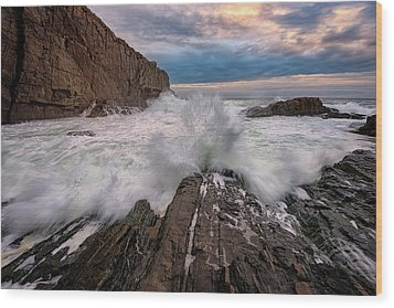 Wood Print featuring the photograph High Tide At Bald Head Cliff by Rick Berk