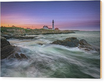 Wood Print featuring the photograph High Tide At Portland Head Lighthouse by Rick Berk
