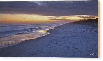 High Tide In Fading Light Wood Print by Phill Doherty