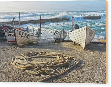 Wood Print featuring the photograph High Tide In Sennen Cove Cornwall by Terri Waters