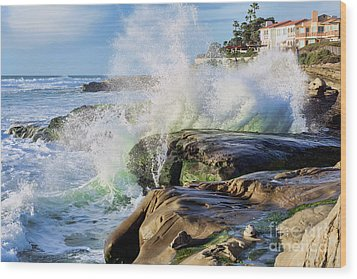 Wood Print featuring the photograph High Tide On The Rocks by Eddie Yerkish