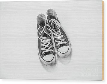 Wood Print featuring the digital art High Tops In Snow Black And White by Randy Steele