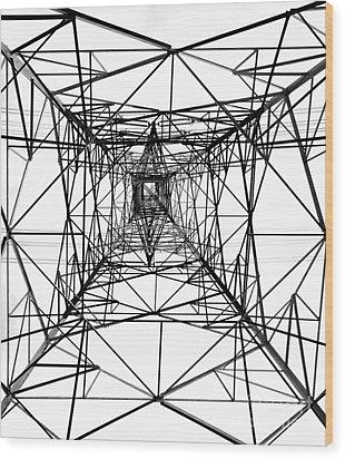 High Voltage Power Mast Wood Print by Yali Shi