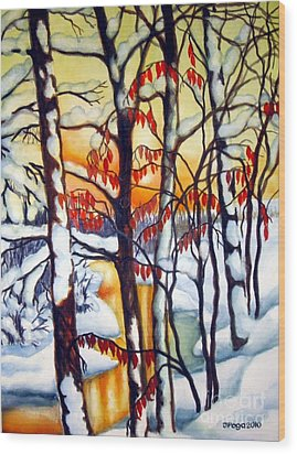 Wood Print featuring the painting Highland Creek Sunset 1 by Inese Poga