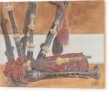 Highland Pipes Wood Print by Ken Powers
