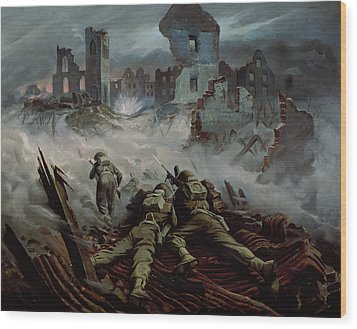 Highlanders Advancing To Caen Wood Print by Orville Norman Fisher