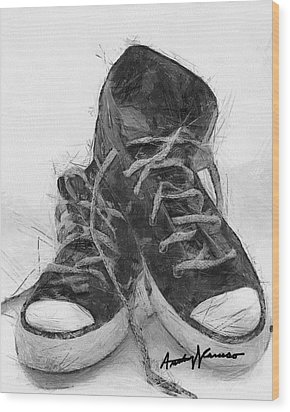 Hightops Wood Print by Anthony Caruso