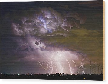 Highway 52 Storm Cell - Two And Half Minutes Lightning Strikes Wood Print