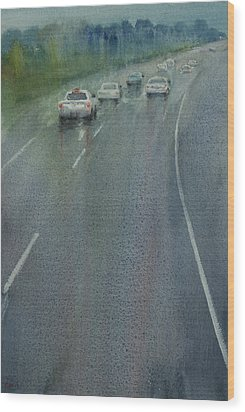 Highway On The Rain02 Wood Print by Helal Uddin
