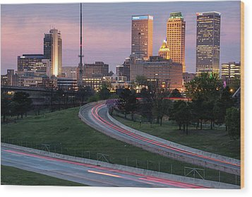 Wood Print featuring the photograph Highway To The Tulsa Oklahoma Skyline by Gregory Ballos