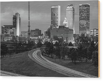 Wood Print featuring the photograph Highway View Of The Tulsa Skyline At Dusk - Black And White by Gregory Ballos