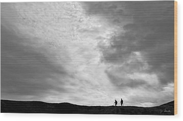 Wood Print featuring the photograph Hikers Under The Clouds by Joe Bonita