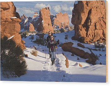 Hiking In Arches National Park Wood Print by Utah Images