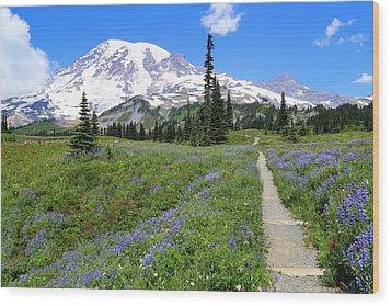 Hiking In The Wildflowers Wood Print