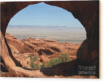 Hiking Through Arches Wood Print by David Lee Thompson
