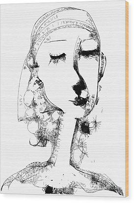 Wood Print featuring the digital art Hilda by Elaine Lanoue