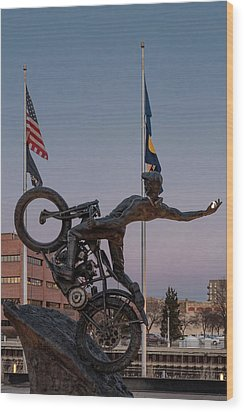 Wood Print featuring the photograph Hill Climber Catches The Moon by Randy Scherkenbach